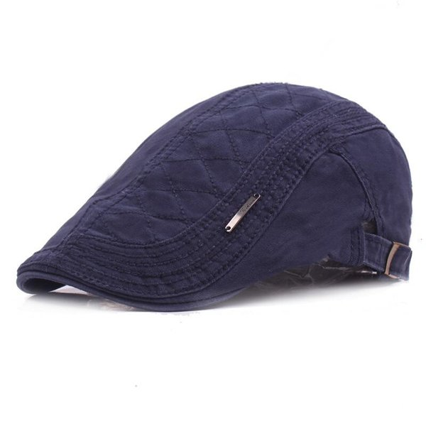 SUOGRY New Autumn Cotton Berets Caps For Men Casual Peaked Caps grid embroidery Berets Hats Casquette Cap