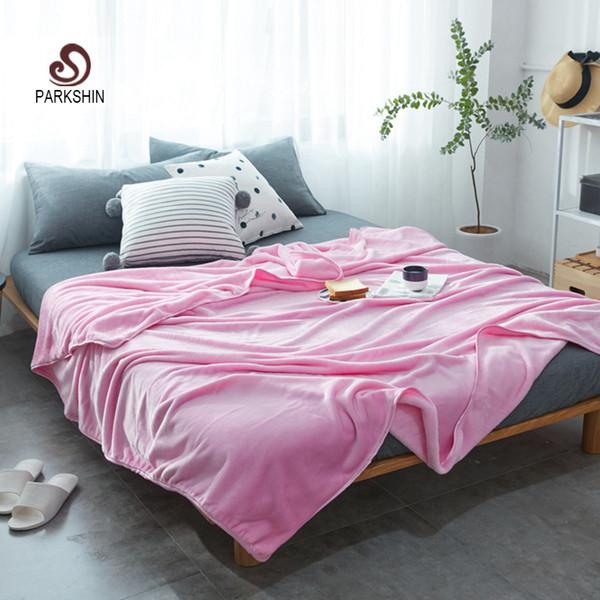 Parkshin Pink Throws Flannel Blanket Soft Winter Elegant Blanket Wrap Family Bedding Super Soft Sleeping Bedspreads 5 Size