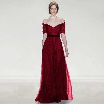 Designer A line short Sleeves Burgundy Evening Dresses 2019 Satin Lace deep V Neck lace up Back Floor Length Formal Gowns