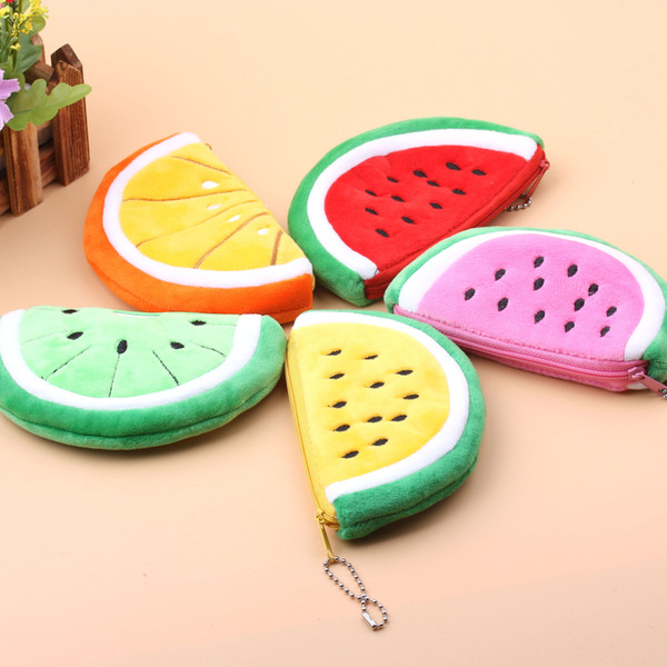 Free shipping 5 Cartoon Plush toys High capacity Psp package toys Pencil case Coin Purse Girl lovely Cloth Watermelon shape zipper wallet