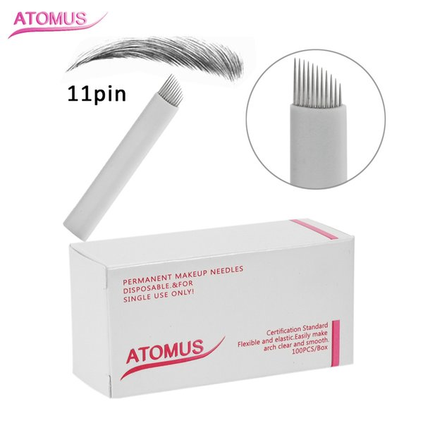 100pcs 11 Pin Sloped Head Stitch Shape Microblading Needles 14 Pins Tattoo Needles Curved For Mermanent Makeup Eyebrow Pen Machine White