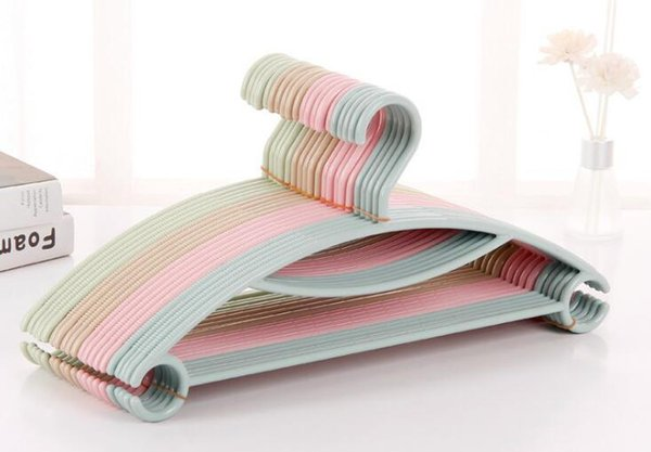 """Non Wrinkle Solid Plastic Hangers Clothes Scarf 15.7"""" 40cm Pants Clothing Hangers Space Saving Colorful Simple Style"""
