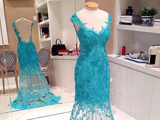 The new sexy deep V collar shoulders with back zipper net ice blue transparent skirt Lace Applique long dress skirt jacket cheap shipping