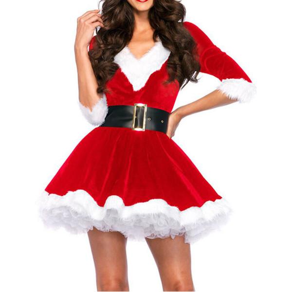 Compre Moda Vestidos De Navidad Ropa De Mujer Sexy Santa Claus Cosplay De Halloween Terciopelo Rojo Con Cuello En V Media Manga Vestido De Un Sombrero