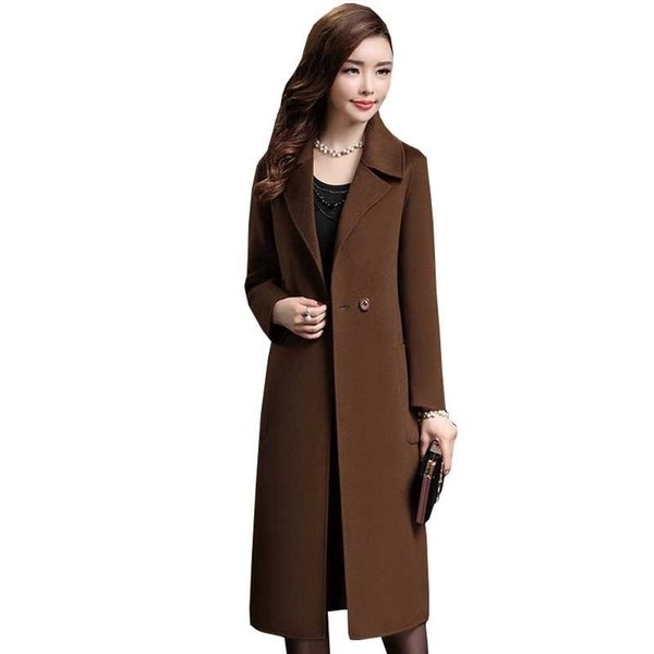 Give Mom A Winter Long Cappotto di lana Donna 2018 New Elegant Fashion Cashmere Coat Parka Plus Size Wool Jacket Overcoat Ls076