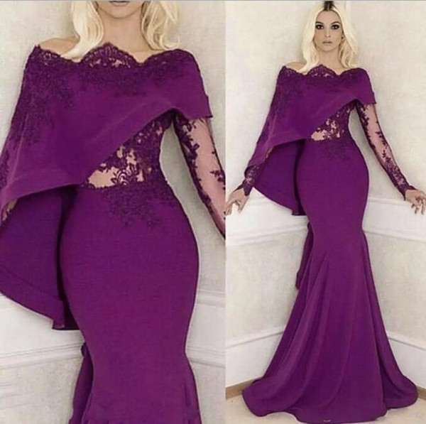 Charmant manches longues sirène robes de bal pourpre de mariée Sexy longue robe Bal De Scoop Neck perlé robes de soirée de diamant