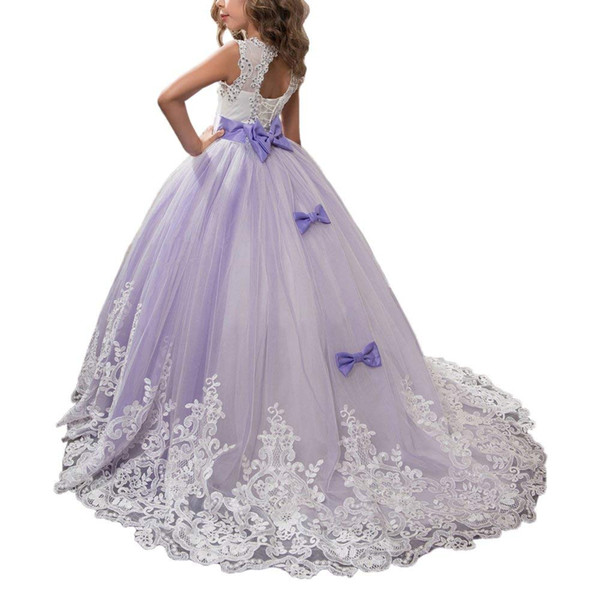 Princess Lilac Long Girls Pageant Dresses Kids Prom Puffy Tulle Ball Gown Formal Occasion