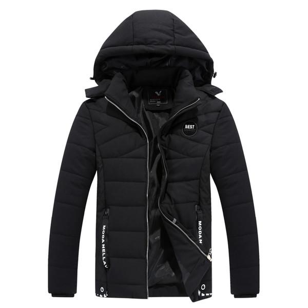 2018 Nueva chaqueta de invierno para hombre Sombrero desmontable abrigo cálido acolchado de algodón Outwear Machos Chaquetas Abrigos Cuello con capucha Ropa Parkas