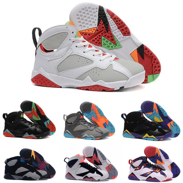 High Quality 7s Basketball Shoes 7 White Metallic Silver Bordeaux Bull Red Black White Chicago Sweater Men Women Sneakers Sports Shoes