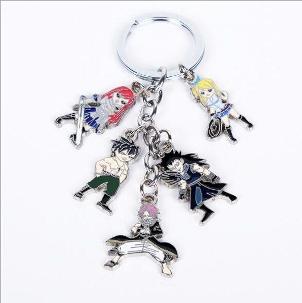 Anime FAIRY TAIL Keychain Keyring 5Pcs//Set Metal Pendants Cartoon Key Ring Gfit