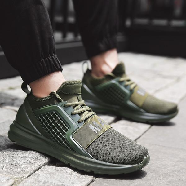 Yürüyüş Ayakkabıları Erkekler Koşu Ayakkabıları Nefes Örgü Sneakers Erkek Spor Eğitim Koşu Eğitmeni Yeşil Büyük Boy 48