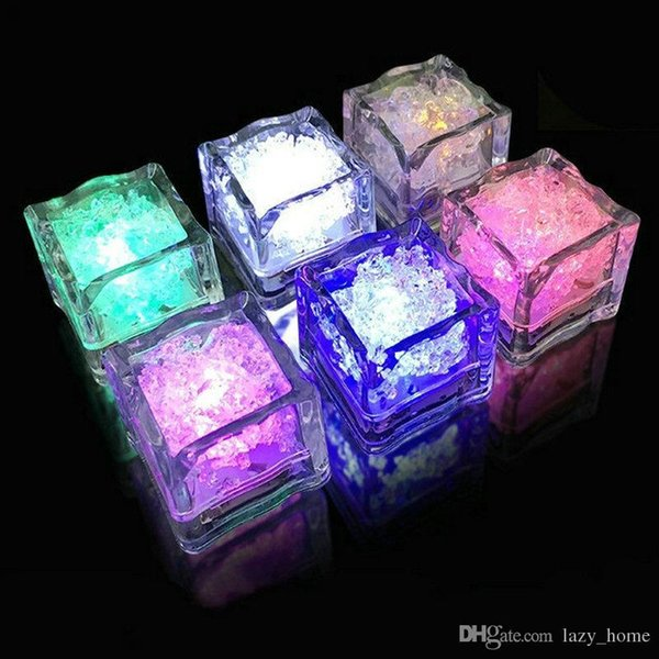 LED Ice Cube Bar Light Glowing Ice Cubes Flash 7 Color Auto Changing Crystal Cube for Valentine's Day Party Wedding 12pcs a Lot