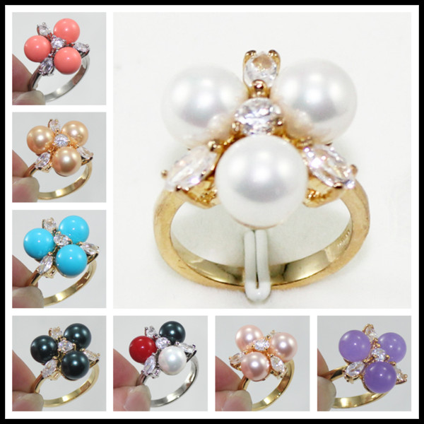 Fashion 18K Gold Plated 8mm South Sea Shell Pearl /Jade Ring Women Rings