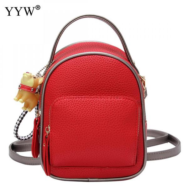 YYW Pu Leder Frauen Schultasche Rucksack Fabrik Preis Mini Rucksäcke Für Mädchen Feste Rote Rosa Mulheres Hohe Qualität