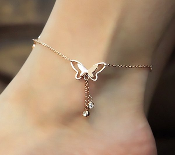European And American Summer Hot Foot Jewelry Temperament Hollow Butterfly Double Diamond Tassel Rose Gold Anklet Rose Gold Wholesale