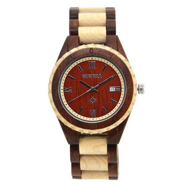 Casual hombres / mujeres adolescente retro madera elegante analógico Ronda Dial relojes de cuarzo Top marca lujo mano Natural madera hombres reloj