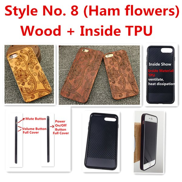 Style No. 8 (Ham flowers) Unique Stylish Classy Snap-On Real Wood Wooden Bamboo TPU Back Cover Case for iPhone X 8 7 6S 6 Plus 5 5S SE