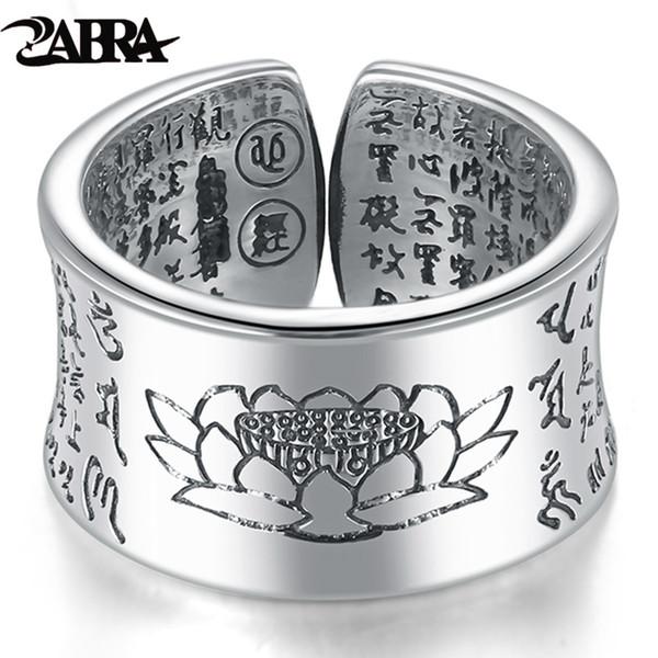 Zabra 999 anel de prata homens budista sutra do coração anel sinete abertura do vintage ajustável feminino mulheres anéis de prata esterlina jóias y1891709