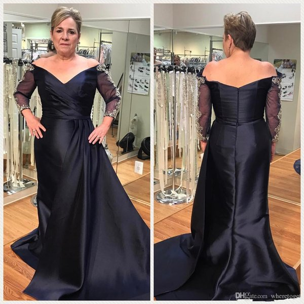 2019 Navy Blue Mermaid Evening Dresses Long Sleeve Elegant Off Shoulder  Overskirt Satin Plus Size Formal Mother Prom Party Gowns Patterns For  Evening ...