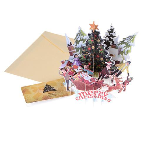Merry Christmas Tree Vintage 3D laser cut pop up paper handmade custom greeting card New Year gift Anniversary souvenir postcard