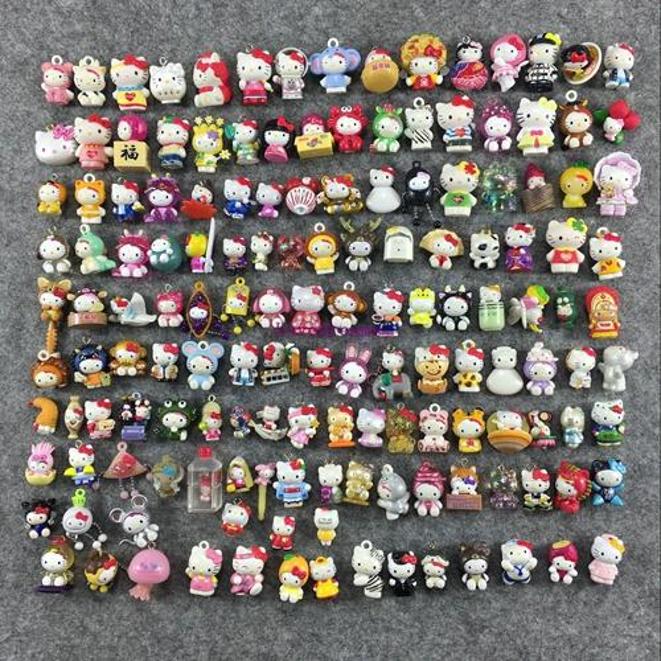 50Pcs/Lot Mini Hello Kitty Random mix (no phone Strap) PVC Figure Toy Kids Phone Accessories