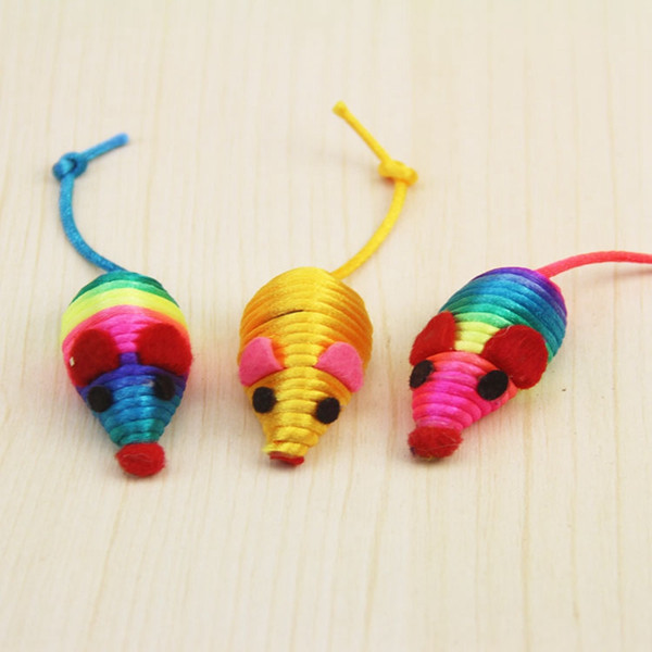 top popular New Pet Cat Rope Toys Colored Mouse Hone Claws Anti scratch Toys Funny Cat Stick Pet Supplies 2021