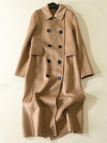 AYUNSUE Herbst winter Neue Mode 2018 Frauen Vintage Zweireiher Wollmantel Weiblichen Trenchcoat Top casaco feminino LX2149
