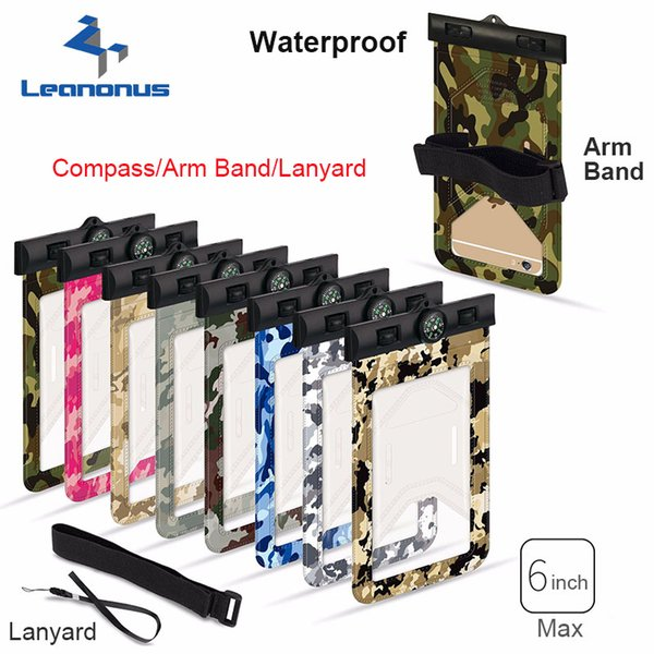 Camouflage Waterproof Case Bag Universal Phone Pouch With Compass Lanyard Armband For Outdoor Diving Swimming For Smartphone up to 6.0 inch