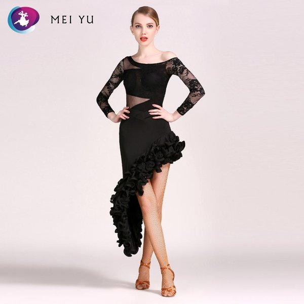 MEI YU -143 and S8032 Latin Dance One-piece Costume Top and Skirt Suits Ballroom Costume Leotard Women Lady Evening Party Dress