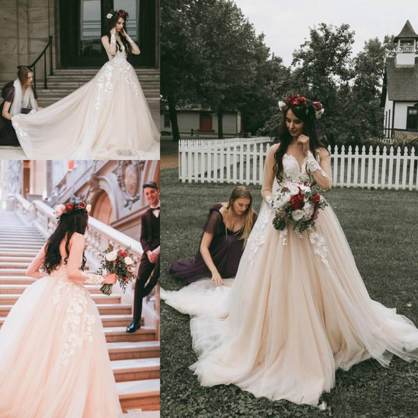 Classical Pink Blush Wedding Dresses Country Rustic Illusion Floral Appliques Long Sleeve Lace Bridal Gown From China Plus Size Vintage 2019