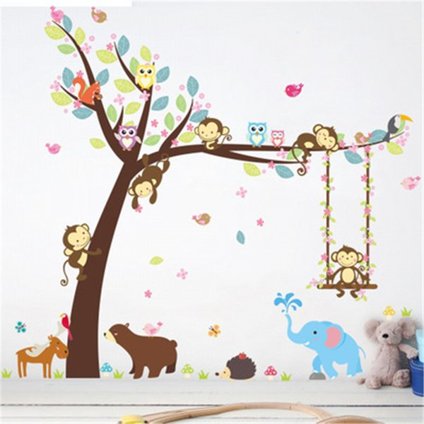 Forest Animals Tree wall stickers for kids room Monkey Bear Jungle wild Children Wall Decal Nursery Bedroom Decor Poster Mural