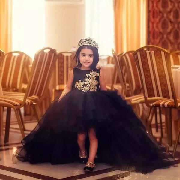 Black Girls Birthday Party Robes de mariée robe décolletée bébé avec dentelle d'or robe de bal d'enfants appliques Jewel cou Tulle Robes enfants Pageant