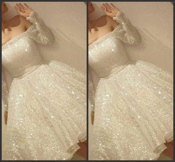 top popular 2019 New Arrival White Shine Short Homecoming Dresses Sequins Off The Shoulder Long Sleeve Party Dress Thin Ribbon A-Line Cocktail Dress 639 2019