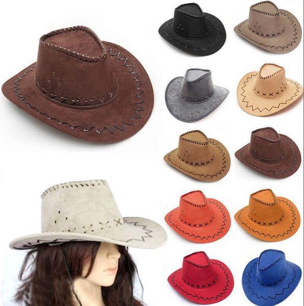 Western Cowboy Hats Men Women Kids Brim Caps Retro Sun Visor Knight Hat Cowgirl Brim Hats EEA293