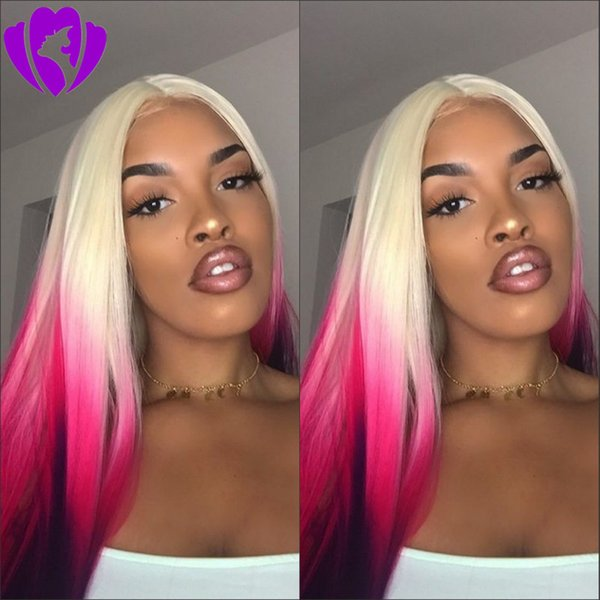 Long straight Blonde Ombre Pink Wigs Synthetic purple Lace Front Wig for women Heat Resistant Hair Cosplay Party Hairstyle