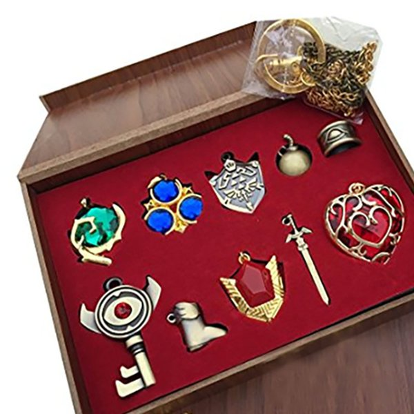 10pcs/set The Legend Of Zelda Sets Princess Hylian Shield Master Sword Keychain Necklace Pendants Kids Jewelry Arts Crafts Toys WX9-322