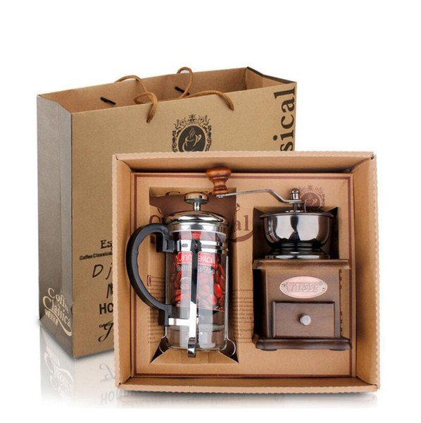 New Barista Coffee Maker Set One Coffee Grinder One French Press 350ML Gifts Box Lovers Family High Quality Simple Coffee Set