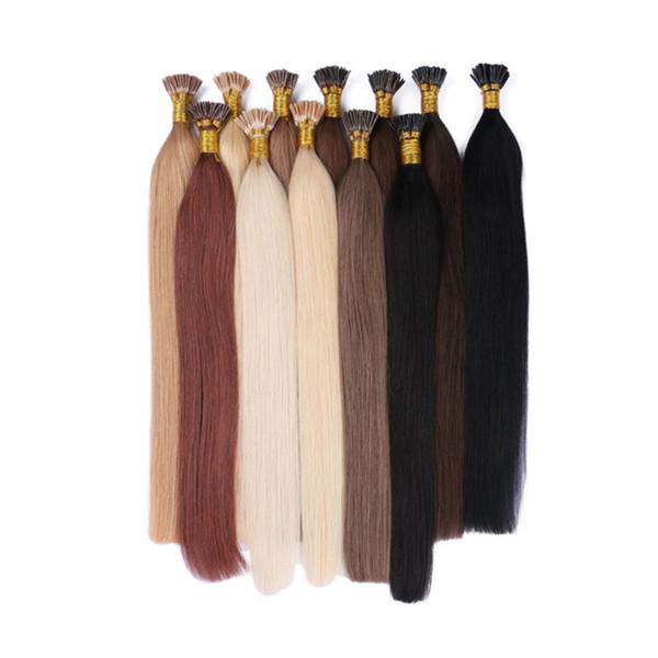 Brazilian Straight Keratin Stick I Tip Hair Extensions 100% Human Virgin Hair 100 strands 100g G-EASY