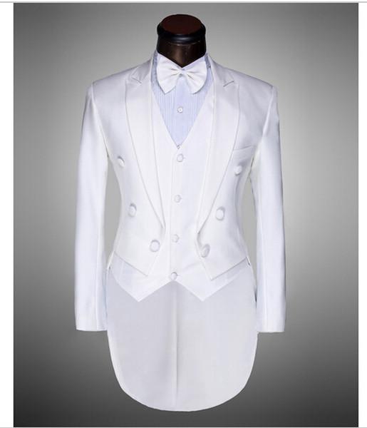 White Groomsmen Peak Lapel Groom Tuxedos Tailcoat/Morning Style Men Suits Wedding/Prom Best Man Blazer( Jacket+Pants+Vest+Bow Tie )M184