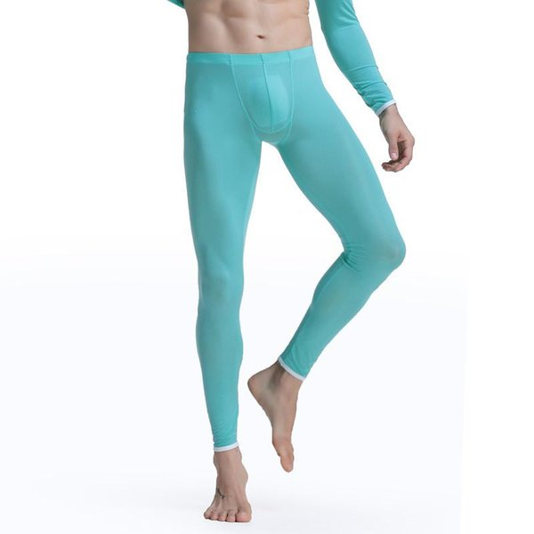 Men Thermal Underwear Long Johns Ice Silk Slim Seamless Mid Waist Invisible Mens Clothes Tight Underpants Leggings