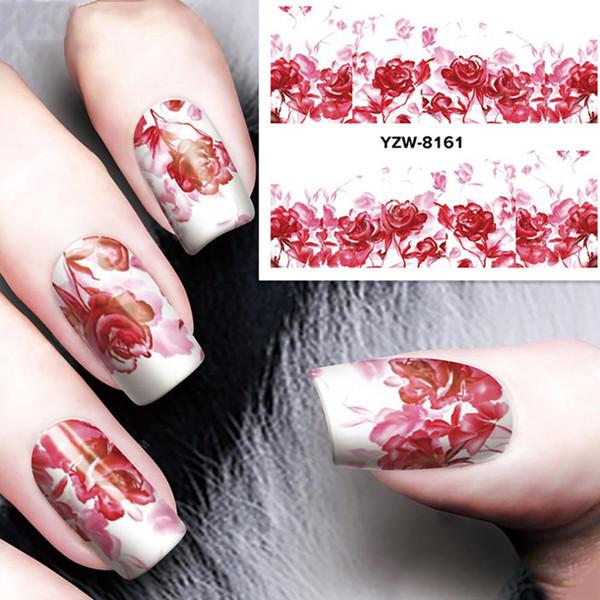Moda Feminina Rose Flor Etiqueta Da Arte Do Prego 3D Transferência De Água DIY Manicure Decalque Novo