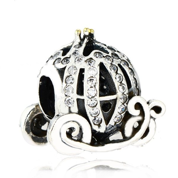 Authentic 925 Sterling Silver Cinderella Pumpkin Charm Beads Gold Plated CZ Rhinestone Pumpkin Bead Fits Pandora Bracelets DIY Fine Jewelry