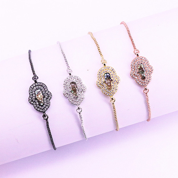 10Pcs Micro Pave CZ Natural Shell Charms Hamsa Hand Connector Bracelets for Women Adjustable Jewelry LL-B044
