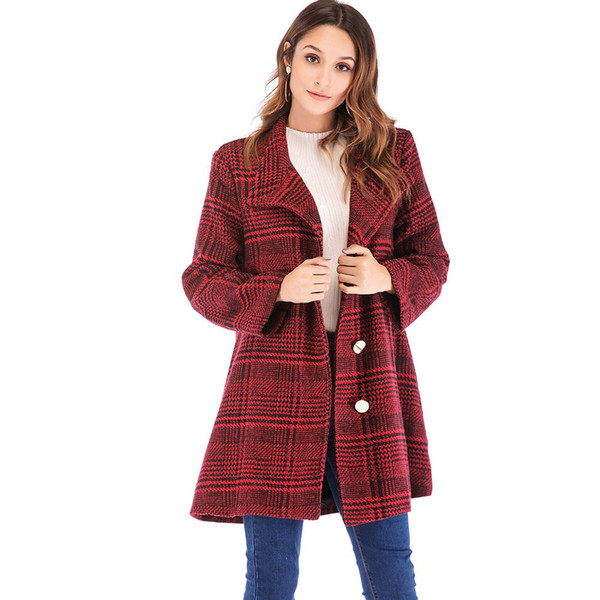 YOUYEDIAN 2018 Mulheres Inverno Casual Plaid Impresso Botão Jacket Outwear Casaco Outercoat Casaco