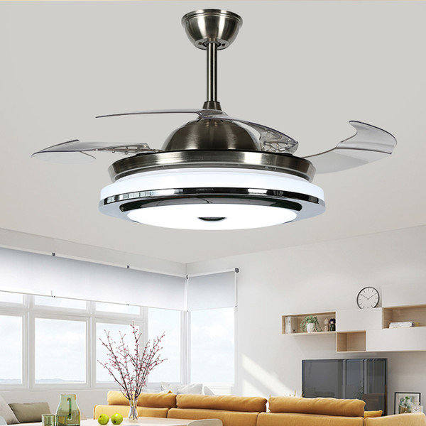 best selling 2018 New High Quality Modern Invisible Fan lights Acrylic Leaf Led Ceiling Fans 110v   220v Wireless control ceiling fan light