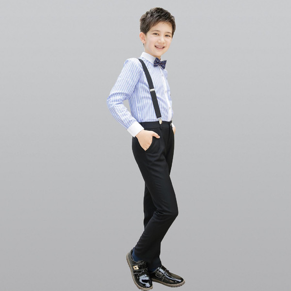 2018 Top Sale Boy Suit Baby Boys Swallowtail Daily Dance Costume Casual Flower Cool Boy Casual Cloth Trousers /Bow/Blue Shirt / Vest