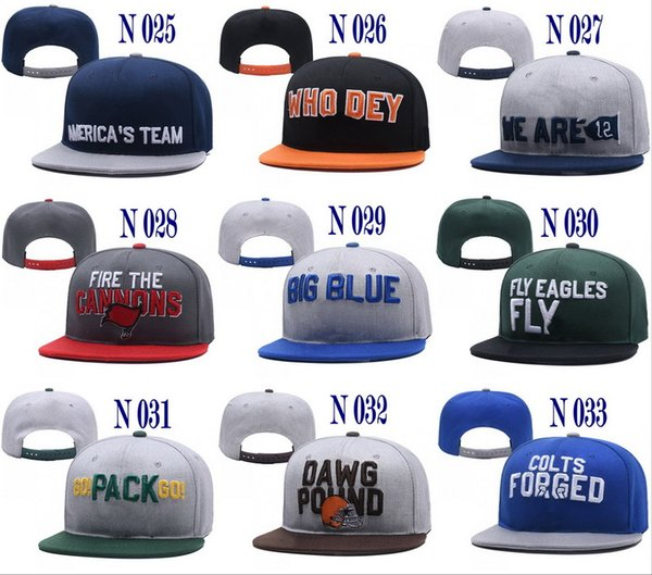 2018 neueste College Football Abzeichen Symbol Snapback Hüte Alle 32 Teams Snapbacks Mix Match Order Draft Caps