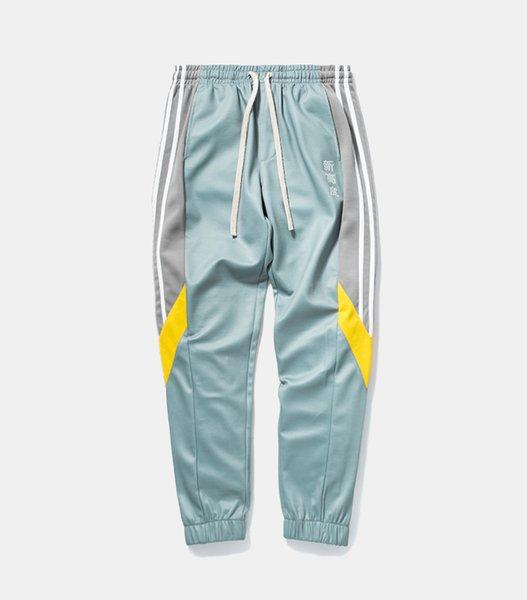 Track Pants Mens 2018 Fashion Urban Jumpsuit Joggers Trousers Male Hip Hop Stripe Sweatpants High Quality Color Block Patchwork