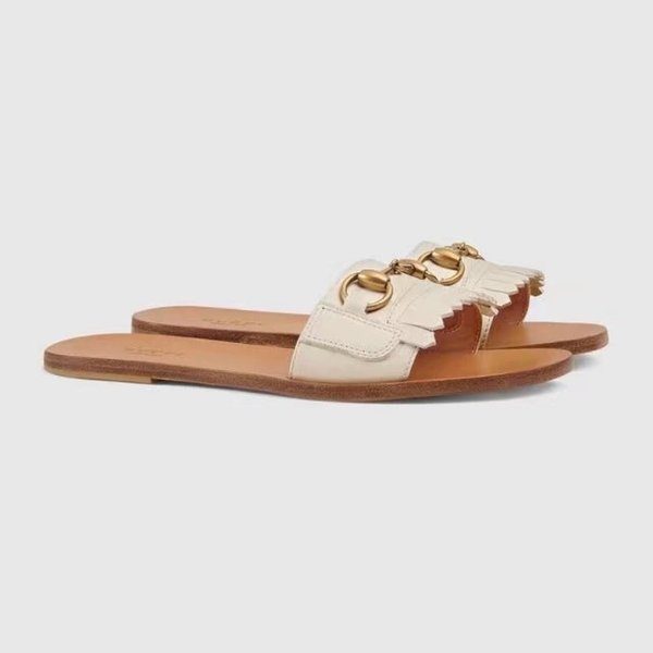 Top Quality Luxury Letter Tassel Metal Buckle flip flop shoes Genuine leather Woman Casual Flat Slippers sandals With Box