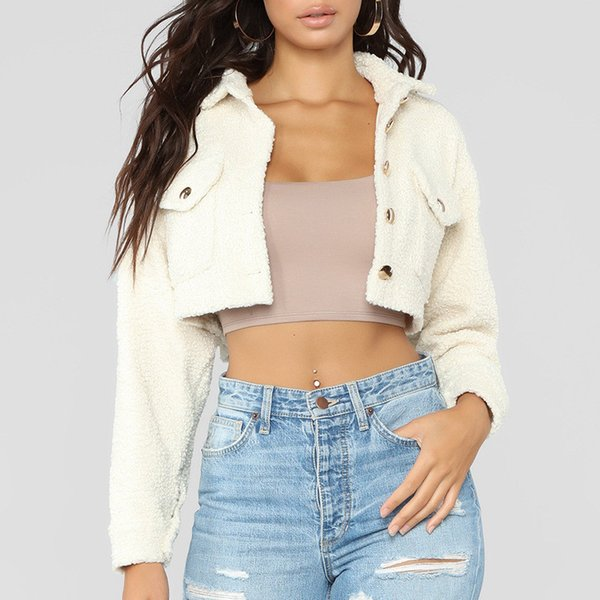 Autumn Winter Casual Women Jackets Fashion Solid Lapel Neck Outwear for Female Shorts Lady Button Coats
